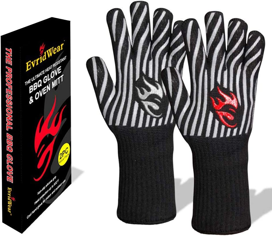 Evridwear 932°F Extreme Heat and Cut Resistant BBQ Gloves Oven Mitts, Non-Slip Silicone Coated Pot Holders for Cooking, Baking, Grilling, Fireplace and Microwave (Gray, Extended Cuff)