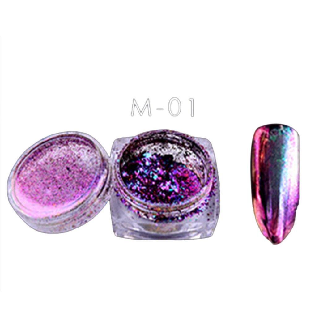 Coromose 6 Colors Powder Flakes Nail Bling Mirror Shimmer Powder Nail Art Glitter Decora (05)