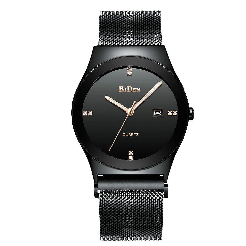 ファッションブランドメンズアナログクォーツ腕時計日付メンズ防水腕時計ステンレススチールメッシュバンド超薄型腕時計 40mm ブラック B07DF6RX2Cブラック