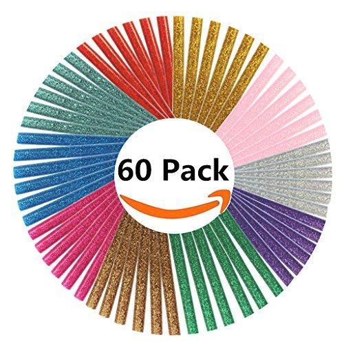 Jelacy 10 Colored Hot Glue Sticks Hot Melt Glue Sticks Mini Colored Glue Sticks for DIY Art Craft Multi Color(7 mm By 10 cm) (60 pcs)