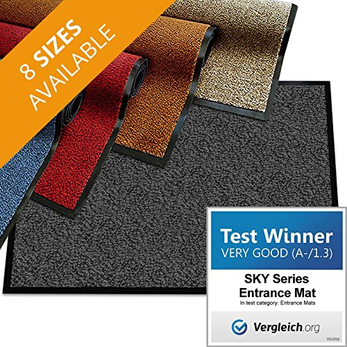 casa pura Premium Entry Mat | Entrance Mat Comparison Test Score: Very Good (A-/1.3) | Ideal as Front Door Mat or Entry Rug | Beige Black - 36