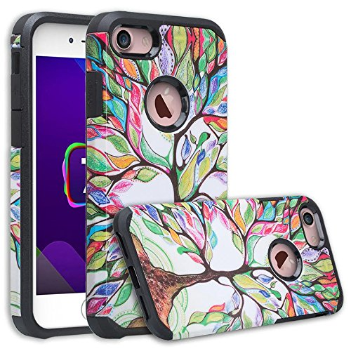 [GW USA] Compatible for iPhone 8 Case, iPhone 7 Case [Shock Absorption] Hybrid Dual Layer Armor Defender Protective Case Cover for iPhone 8 / iPhone 7, Colorful Tree
