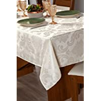 Toalha Para Mesa Com 04 Lugares Sala Jantar Tecido Grosso Jacquard 1,50m Bege