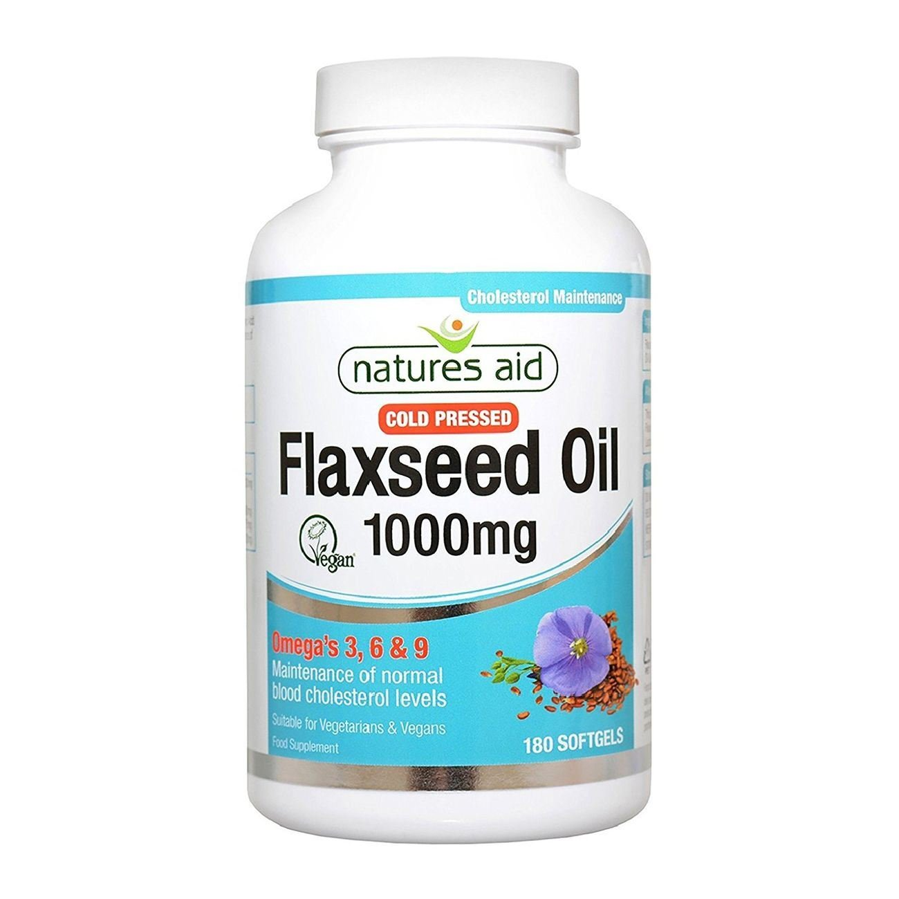 Natures Aid Flaxseed Oil 1000mg Cold Pressed (Omega 3, 6 + 9) 180 caps. Suitable for Vegetarians.