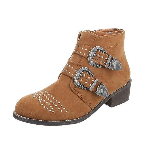Zapatos para Mujer Botas Tacón de Vaquero Botines Camperos Ital-Design: Amazon.es: Zapatos y complementos