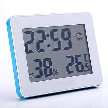 ZLR Silencio Creativo Cronómetro electrónico Pantalla grande Temperatura y humedad Silencio Reloj despertador (Color : Azul) : Amazon.es: Hogar