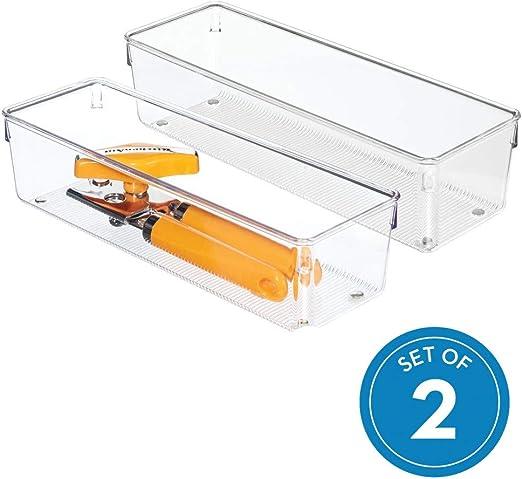 cubertero para cajones de cocina grande en pl/ástico transparente InterDesign Linus Organizador de cajones juego de 2 cuberteros para caj/ón