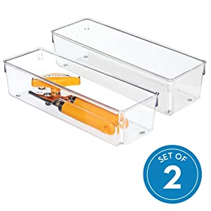 "InterDesign Linus Kitchen Drawer Organizer for Silverware, Spatulas, Gadgets - Set of 2, 4"" x 12"" x 3"", Clear"