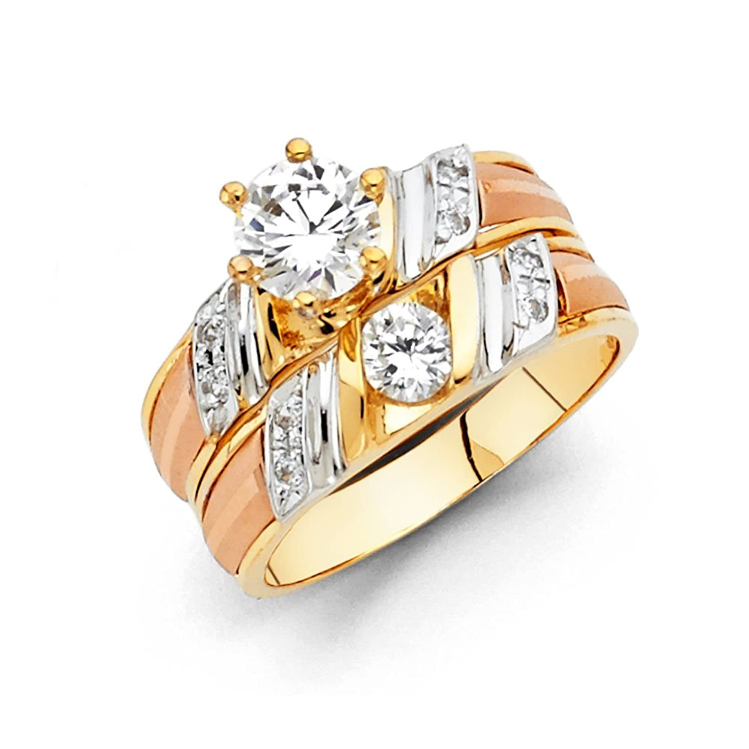 Amazon.com: 14k Tri Color Gold SOLID Engagement Ring and Wedding ...