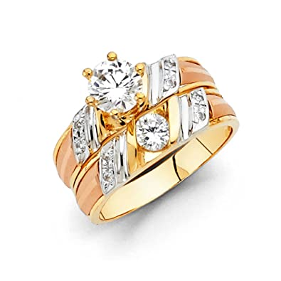 engagement gold ring diamonds wedding wide pin color and rings tricolor band tri eternity