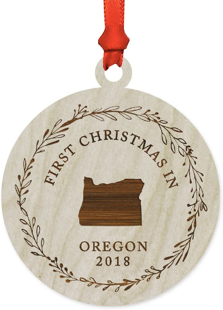 Andaz Press Custom Year Laser Engraved Wood US State Round Christmas Ornament, First Christmas in Oregon 2020, 1-Pack, Includes Ribbon and Gift Bag, Custom Name
