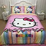 CASA 100% Cotton Brushed Kids Bedding set Girls Hello Kitty Duvet Cover and Pillowcases and Flat sheet,girls,Girls,4 Piece,King