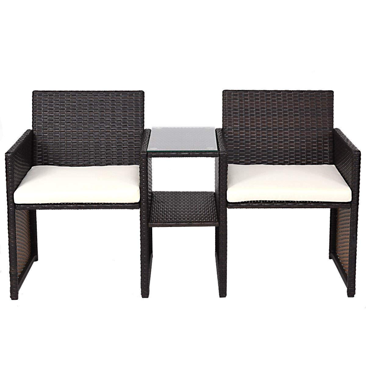 GHP 56''x22''x31'' Brown Steel & PE 2 Cushioned Seats Rattan Chair with Linked Tea Table
