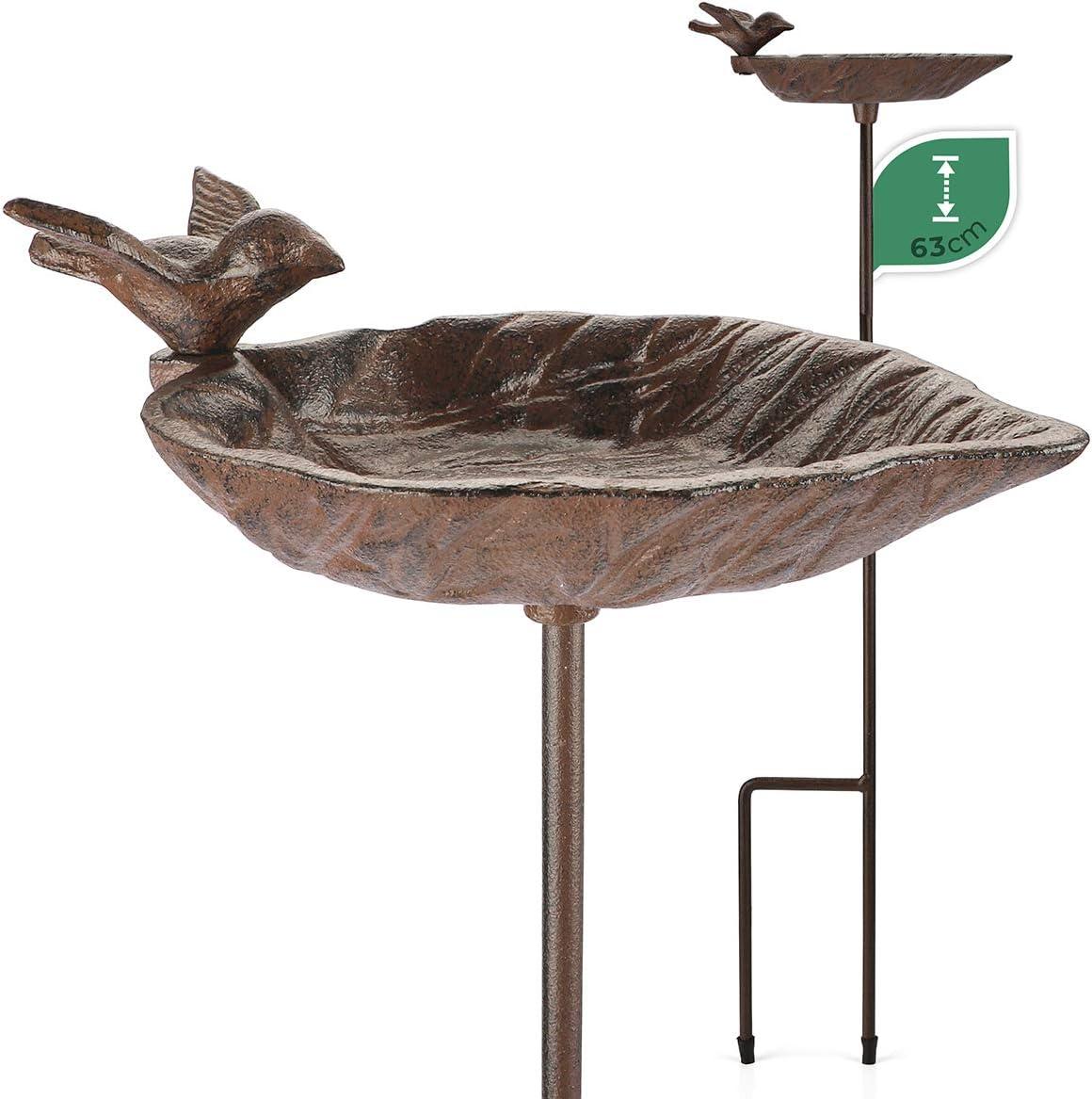WILDLIFE FRIEND   Bebedero para pájaros con varilla, resistente a la intemperie, cuenco para alimentos, comedero para pájaros, bebedero de agua de pie en forma de hoja