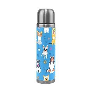 Alaza cani zampa stampe a doppia parete isolamento sottovuoto thermos in acciaio INOX acqua a prova di perdite mantenere bevande calde e fredde in vera pelle 481,9gram