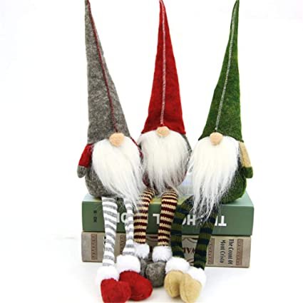 Green: Fdit Rudolph Doll Toys with Long-Legged for Tree Home Shopping Mall Window