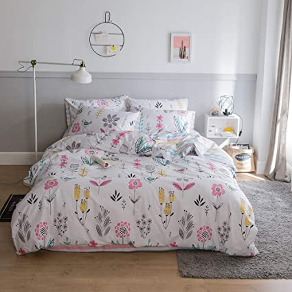 f699cf1178 VClife Cotton Floral Bedding Sets Collections Queen/Full Luxury Soft  Striped Geometric Pattern Duvet Cover