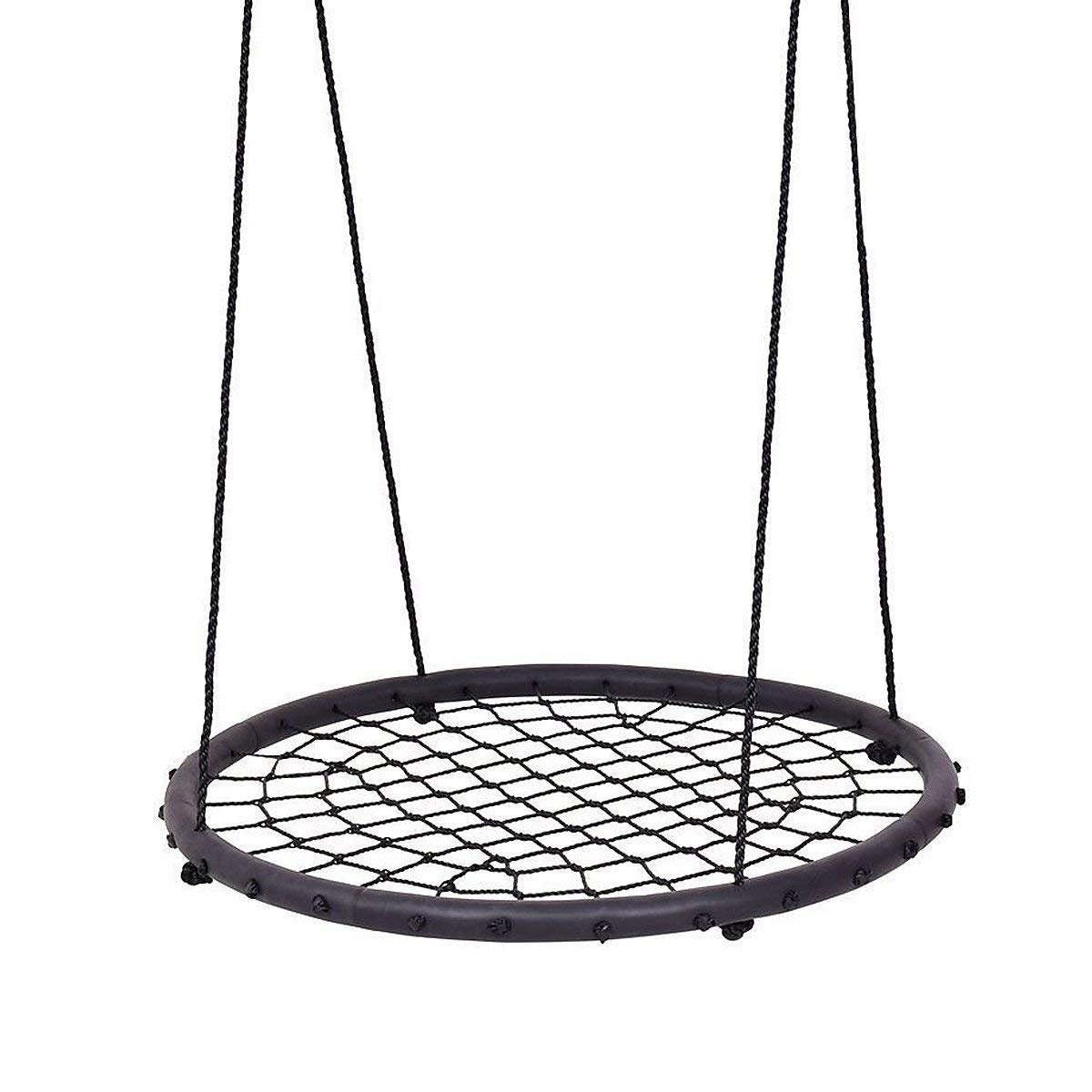 Costzon 40 Tree Swing Round Net Children's Detachable Web Swing, 440lbs Capacity, Black