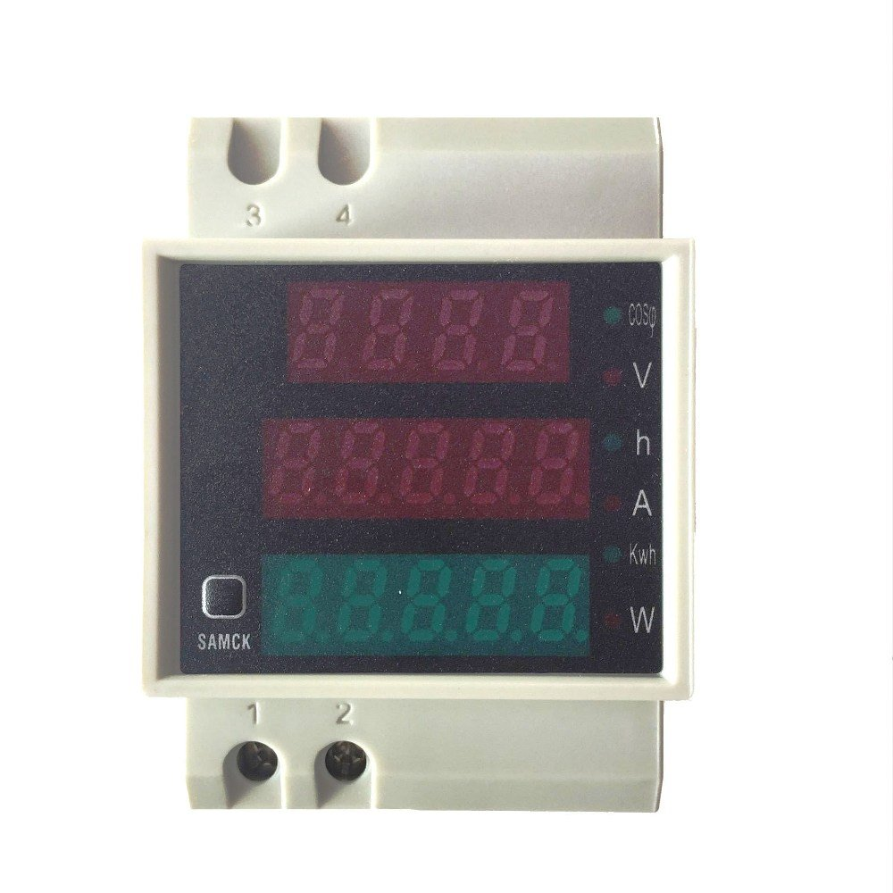 MyBreeze@ Din Rail Volt Amp Power Meter 3 in 1 AC 80-300V 0-100A Built-in Transformer Voltmeter Ammeter Power Meter (D52-2047)