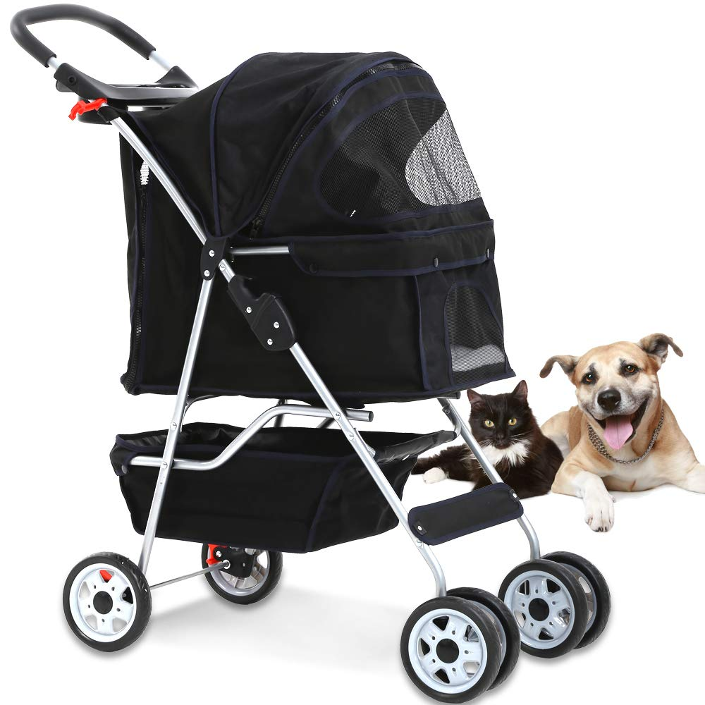 4 Wheels Pet Stroller Cat Dog Cage Stroller Travel Folding Carrier with Cup Holders and Removable Liner for Small-Medium Dog, Cat (Black) by Dkeli