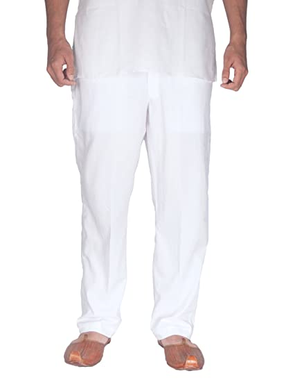 Rajubhai Hargovindas White Men's Elastic Pyjama | 2 Side Pockets and Elastic Waist Men's Pyjamas & Lounge Pants at amazon