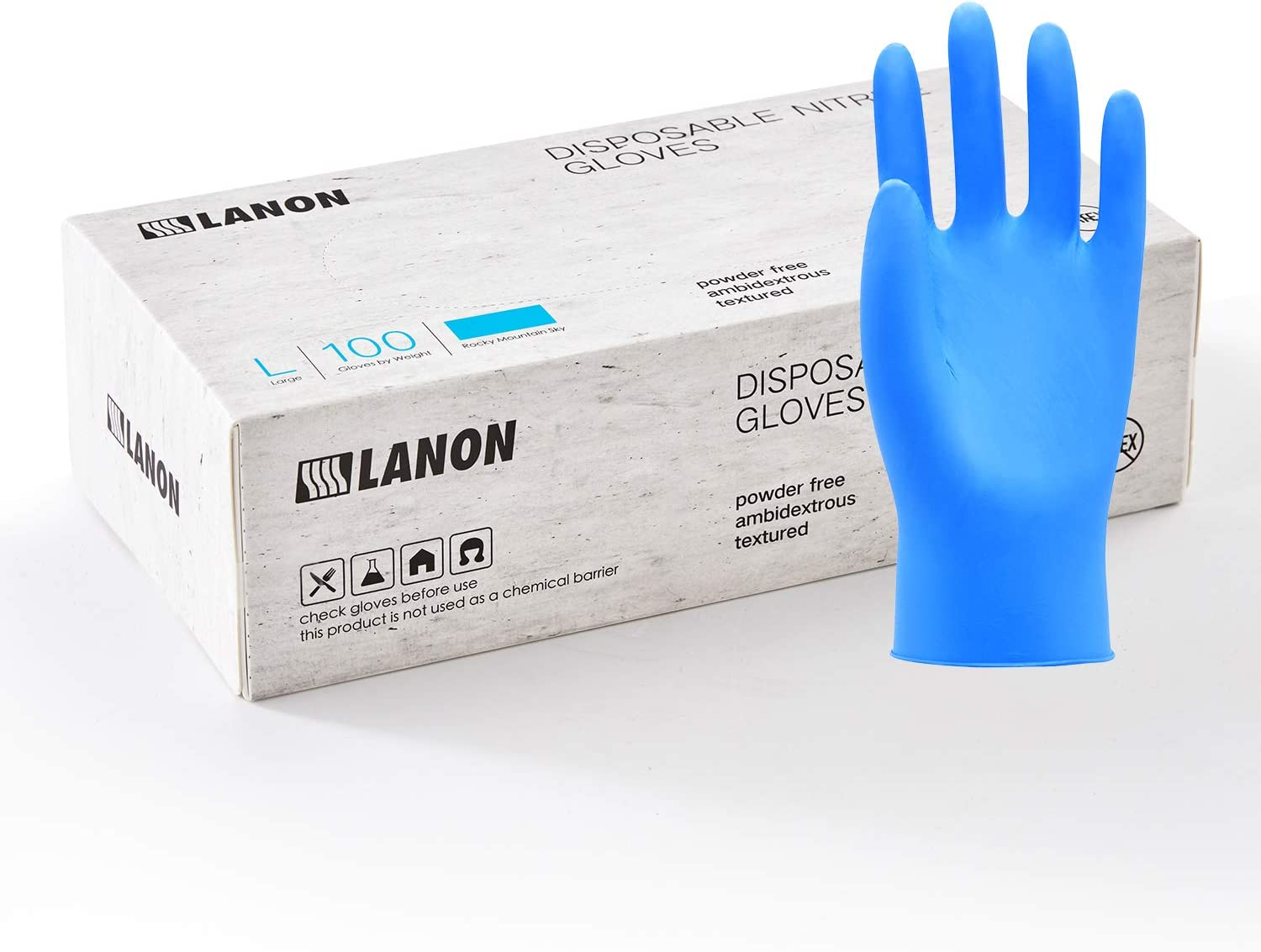LANON 100 Count Disposable Nitrile Gloves Food Grade with Textured Fingertips, 5 mil, Latex and Powder Free, Blue, Medium