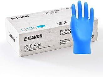 Pack of 100 2 mil Medium Fully Textured LANON Protection Lanolin Vitamin E Coated Nitrile Disposable Gloves Beaded Cuff Ambidextrous Moisture Lock Exam Grade