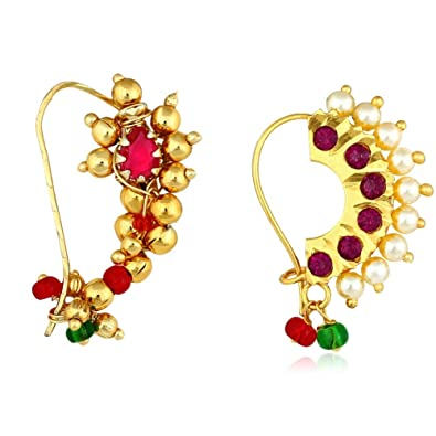 Buy Meenaz Maharashtrian Diamond Banu Marathi Nose Pin Nath Nose