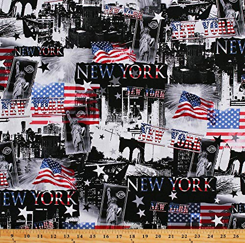 (Cotton New York City USA American Flags Statue of Liberty Landmarks Patriotic All American Black Cotton Fabric Print by The Yard (08038-76))