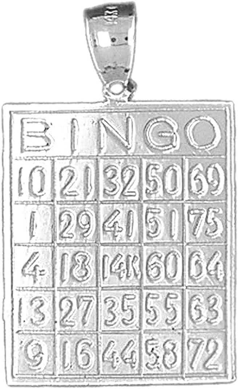 Jewels Obsession Bingo Pendant 34 mm Sterling Silver 925 Bingo Pendant
