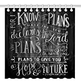 Wknoon 72 x 72 Inch Shower Curtain, Vintage Christian Inspirational Bible Verse Scripture Quotes on Deadwood, Waterproof Polyester Fabric Decorative Bath Curtains