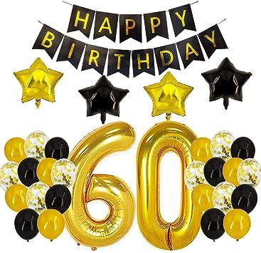Amazon.com: Decoración para 60 cumpleaños – negro y dorado ...