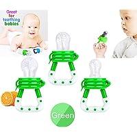Chupetes para Frutas 3 Piezas, Alimentador Antiahogo de Frutas y Verduras para Bebés Chupón Juguete Mordedera (verde)