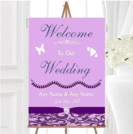 Cadbury - Cartel de boda personalizable, diseño de damasco ...