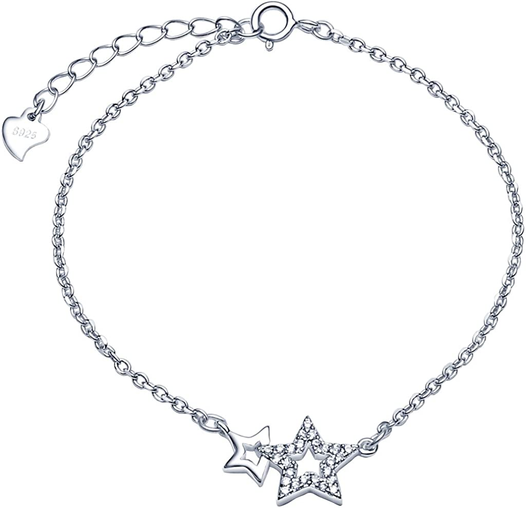 Pulsera Mujer- Infinito U Pulsera Estrellas de Plata de Ley 925 con Circonitas, Ajustable