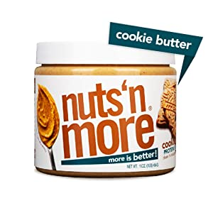 Nuts 'N More Cookie Butter Peanut Spread, All Natural High Protein Nut Butter Healthy Snack, Omega 3's and Antioxidants, Low Carb, Low Sugar, Gluten-Free, Non-GMO, Preservative Free, 16 oz Jar
