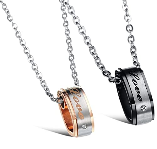 KnSam Couple Stainless Steel Ring Set Necklace 2 Tones I Will Always Be with You Novelty Necklace