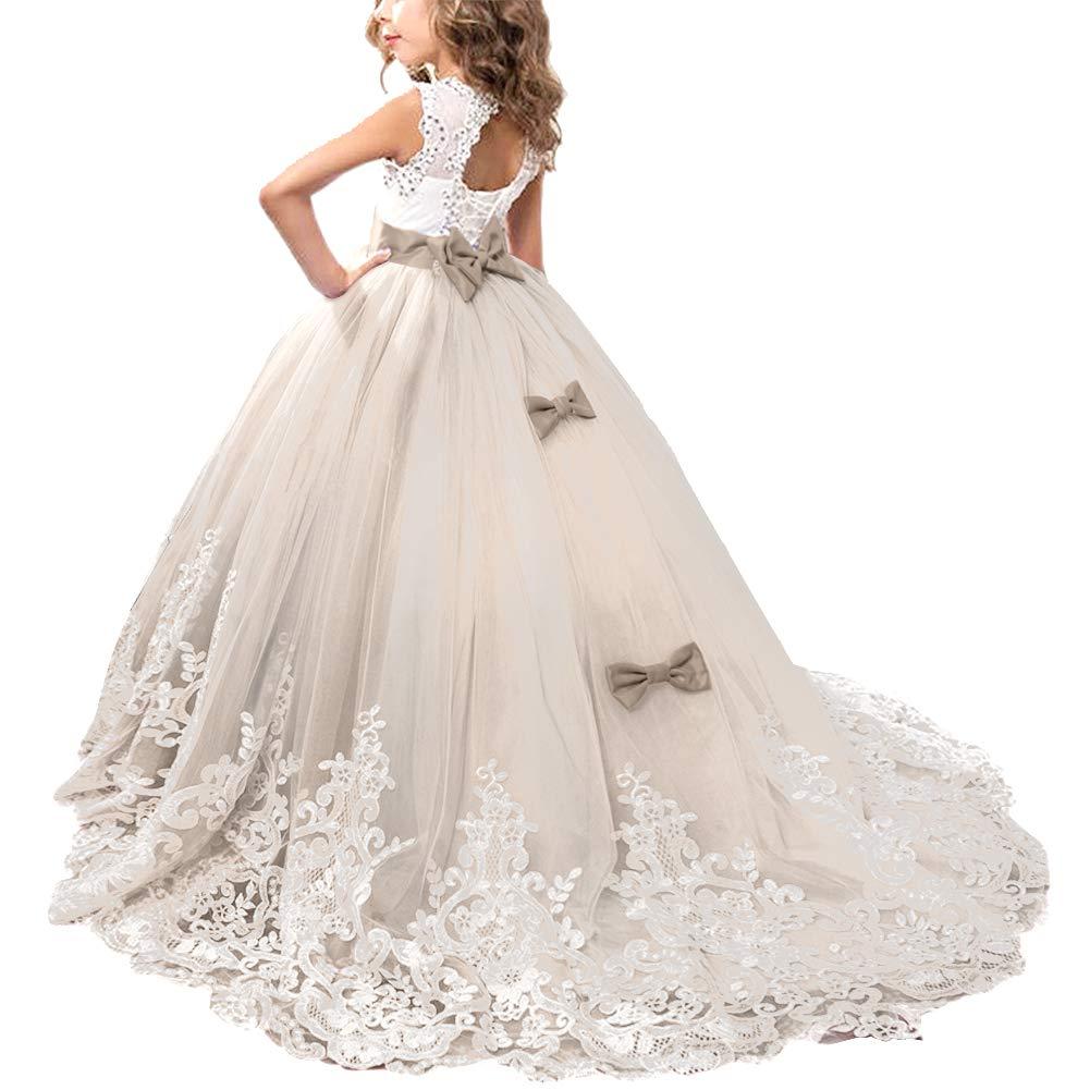 IWEMEK Princesa Appliques de Encaje Tul Vestido de Niña de Flores Boda Vestidos de Dama De Honor Vestido de Fiesta Bowknot Comunión Cumpleaños Bola Navidad ...