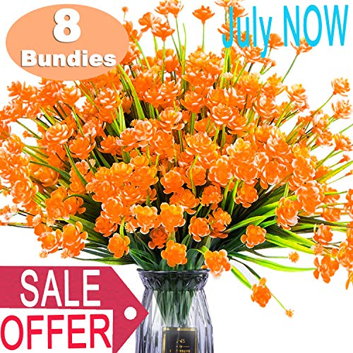 TURNMEON Artificial Fake Flowers, 8 Bundles Faux Outdoor UV Resistant Daffodils Greenery Shrubs Plants Indoor Outside Hanging Planter Wedding Garden Decor for Prime Deal (Outdoor Plants Artificial)
