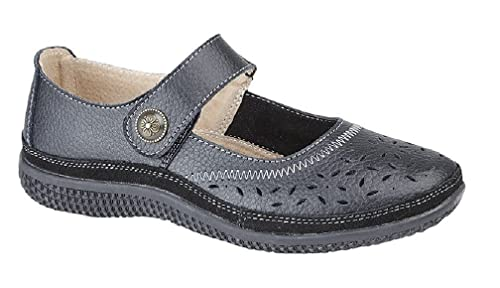 ba5f1ddc05ad Boulevard ALEX Ladies Extra Wide EEE Leather Velcro Mary Jane Shoes Navy   Amazon.co.uk  Shoes   Bags