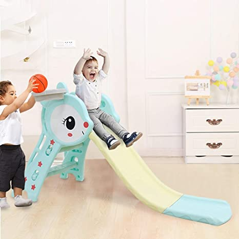 US Stock, Blue Toddler Sturdy Slipping Slide Climber for Indoor Outdoors Use Playground Equipment Set Airpow Folding Slide with Basketball Hoop Children Toy Playset for Outside Games