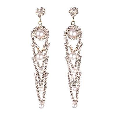 83f50c4af265 Metme - Pendientes largos de perlas de imitación para novia y novia   Amazon.es  Joyería