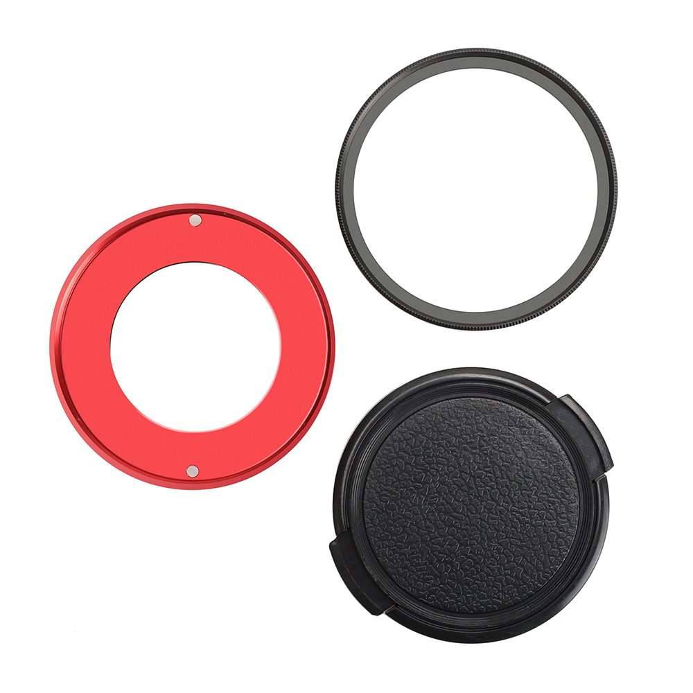 Forevercam Aluminium Alloy Adapter Protective UV Filter with Front Cover 52mm Lens Cap for Olympus TG-4/5 (FA03US)