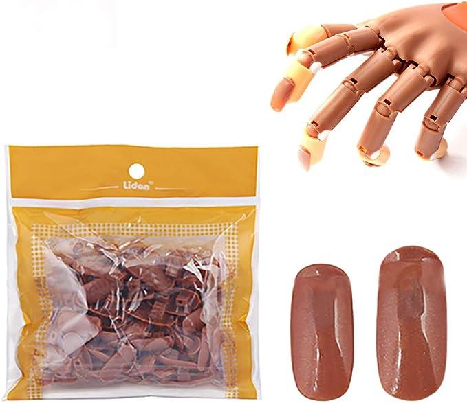 BLINNGO 200 pcs Bout des Ongles,Convient à Faux mains d'entraînement pour les ongles,Fausse Main Manucure pratique à utiliser