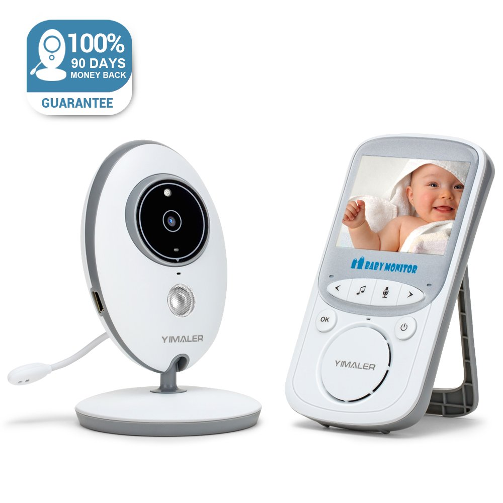 Yimaler Baby Monitor with Video Wireless with Digital Camera Night Vision 2 Way Audio Temperature Monitoring Lullabies Long Range and High Capacity Battery for Security 2.4inch LCD Screen