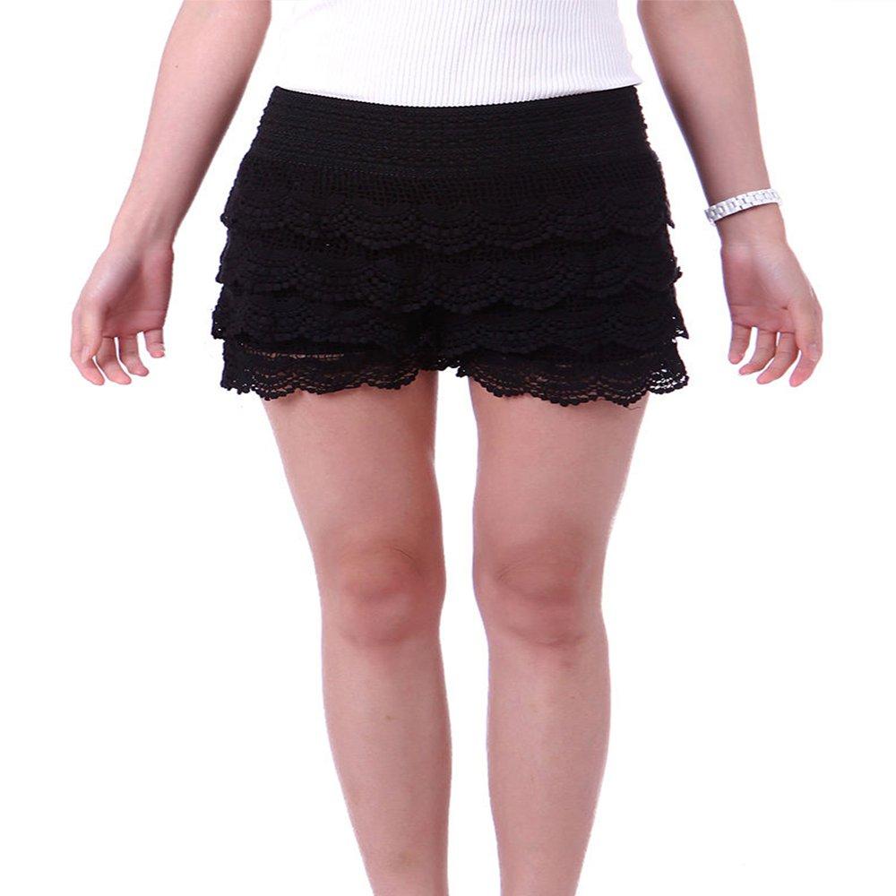 Women's Fitted Scallop Hem Crochet Lace Mini Short (Black, Plus Size - 2XL)