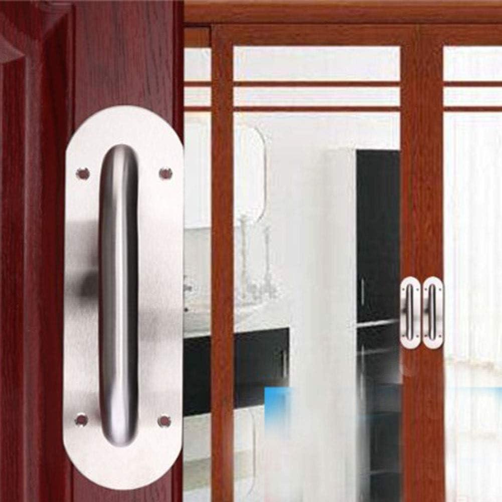 Tiberham - Tirador de puerta corredera, acero inoxidable resistente, tirador de puerta con placa trasera, tirador de puerta de inodoro, placa de madera para armario (200 x 65 mm, redondo): Amazon.es: Bricolaje
