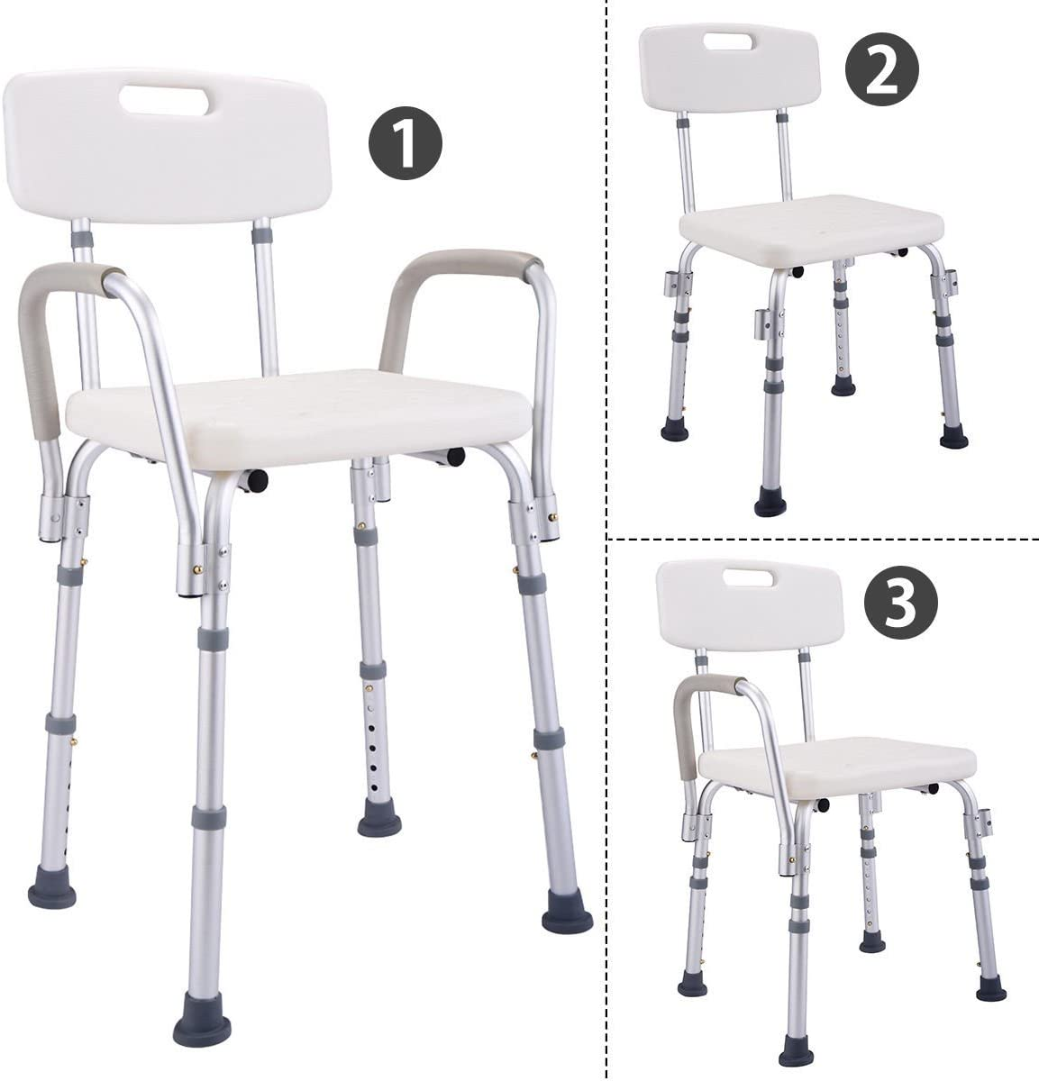 B074DC9QC9 6 Height Adjustable Medical Shower Chair Stool Bath Tub w/ Back & Armrest New 61yBnwVDvaL.SL1200_