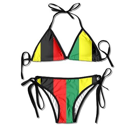 ba9a3dda46 Rasta Jamaica Raggae Womens Sexy Thong Soft Padded Bikini Set Two Piece  Swimsuits One Size