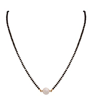 bd1662d84f4b6 BFC-Stylish One Gram Gold Plated Pearl Black Beads Mangalsutra For Woman  And Girls
